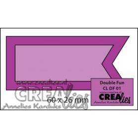 Crealies Double Fun no. 1 Stanz Banner Fahn CLDF01 / 6 cm x 2,6 cm