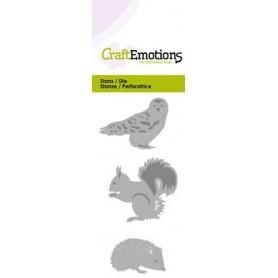 CraftEmotions Die - Eule Igel Eichhörnchen Card 5x10cm