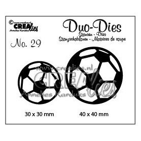 Crealies Duo Dies no. 29 Fußbälle 30x30mm-40x40mm