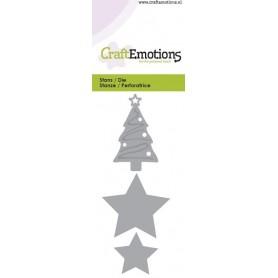 CraftEmotions Die - Weihnachtsbaum, Sterne 5x10cm - Sweet Vintage Christmas