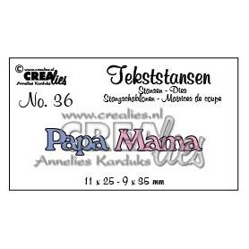 Crealies Tekststans Papa Mama 11 x 25 - 9 x 35 mm