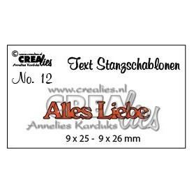 Crealies Tekststans (DE) Alles Liebe 9 x 25 - 9 x 26 mm
