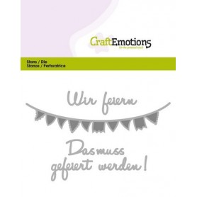 CraftEmotions Die Text - Wir feiern Card 11x9cm