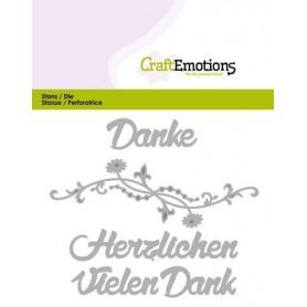 CraftEmotions Die Text - Vielen Dank Card 11x9cm