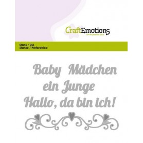 CraftEmotions Die Text - Baby Hallo, da bin ich! Card 11x9cm