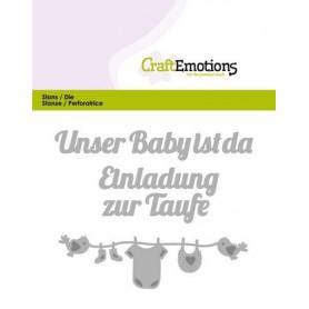 CraftEmotions Die Text - Unser Baby ist da Card 11x9cm