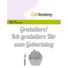 CraftEmotions Die Text - Gratuliere zum Geburtstag Card 11x9cm