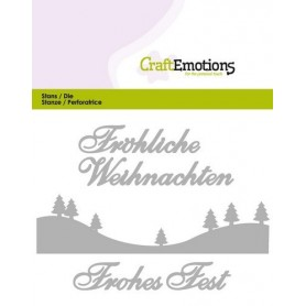 CraftEmotions Die Text - Fröhliche Weihnachten Card 11x9cm