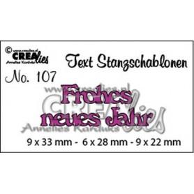 Crealies Tekststans nr 107 Frohes neues Jahr 9x33-6x28-9x22mm