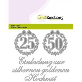 CraftEmotions Die Tekst - Einladung 25 50 Hochzeit Card 11x9cm