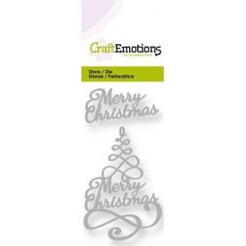 CraftEmotions Die - Weihnachtsbaum Merry Christmas 3D swirl Card 5x10cm