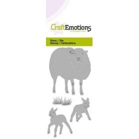 CraftEmotions Die - Schafe mit Lämmern Card 5x10cm