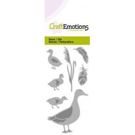 CraftEmotions Die - Ente mit kleinen Enten Card 5x10cm