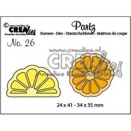 Crealies Partz no. 26 Zitrone + Orangenscheibe CLPartz26