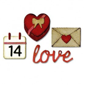 Sizzix Thinlits Dies w/ Embossing Folder - Love Tim Holtz