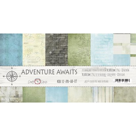 """Paper Collection Set 12""""*12"""" Adventure Awaits, 190 gsm (6 double-sided sheets, 12 designs, )"""