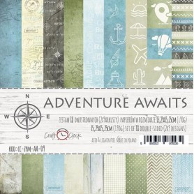 "Paper Collection Set 6""*6"" Adventure Awaits, 190 gsm(18 double-sided sheets )"