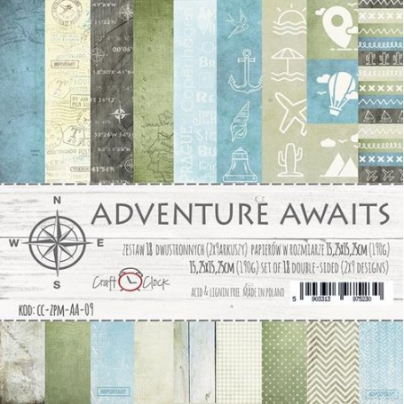 """Paper Collection Set 6""""*6"""" Adventure Awaits, 190 gsm(18 double-sided sheets )"""