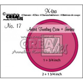 Crealies X-tra no. 17 Artist Trading Coin and Inchie CLXtra17 1 + 3/4 inch - 2 + 1 3/4 inch