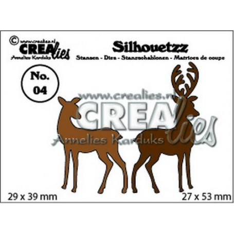 Crealies Silhouetzz no. 04 2 Hirsche CLSH 04 29 x 39 mm - 27 x 53 mm