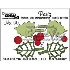 Crealies Partz no. 30 Stechpalmenblätter + Beeren CLPartz30 25 x 43 mm - 8 x 8 mm