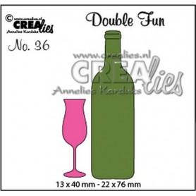 Champagnerglas und Flasche Wein klein CLDF36 13x40 - 22x76mm