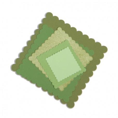 Sizzix Framelits Dies 6/Pkg Scallop Squares