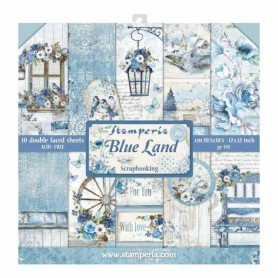 """Block 10 sheets 30.5x30.5 (12""""x12"""") Double Face Blue Land"