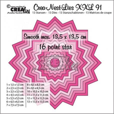 Crealies Crea-Nest-Lies XXL no 91 glatter 16 spitz Stern  13,5x13,5 cm