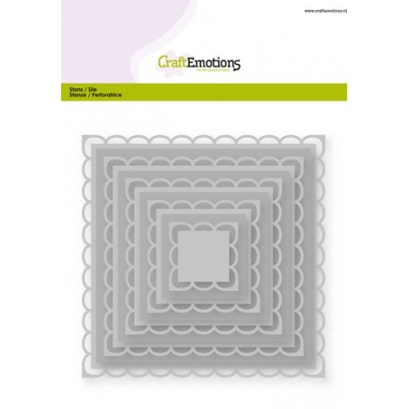 CraftEmotions Big Nesting Die - Quadrate mit offene scalop XL Card 150x160 2,2-12,8cm