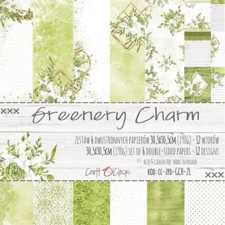 """Paper Collection Set 12""""*12"""" Greenery Charm"""