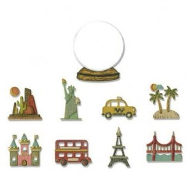 Sizzix Thinlits Die Set - 10PK Tiny Travel Globe  Tim Holtz