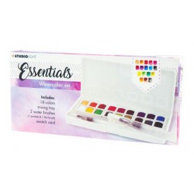 Studio Light Aquarelset 18 Colors + 2 Brushes Essentials nr.01 WCSL01