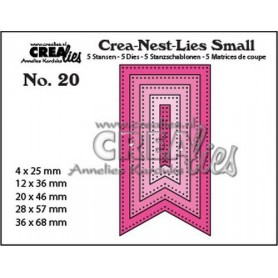 Crealies Crea-nest-Lies Small Fishtail Banner mit dots (5x) CNLS20 / max. 36 x 68 mm