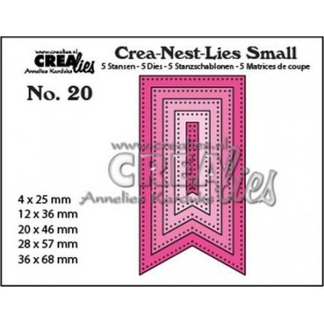 Crealies Crea-nest-Lies Small Fishtail Banner mit dots (5x) CNLS20 / max. 36 x 68 mm