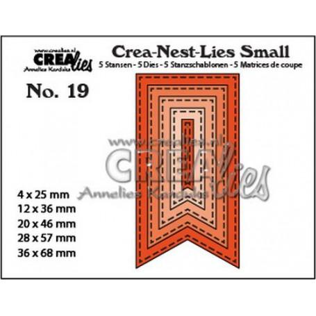 Crealies Crea-nest-Lies Small Fishtail Banner mit Sticklinien (5x) CNLS19 / max. 36 x 68 mm