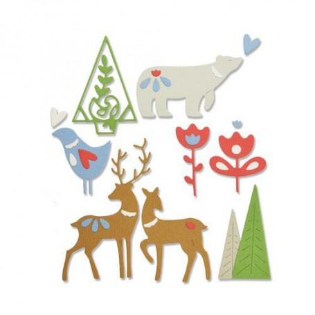 Sizzix Thinlits Die Set - 10PK Christmas Elements Lisa Jones