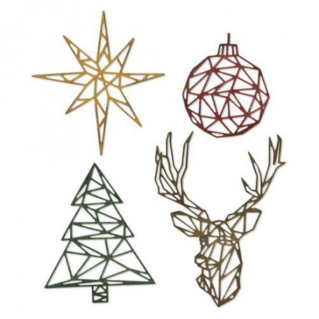 Sizzix Thinlits Die Set - 4PK Geo Christmas  Tim Holtz