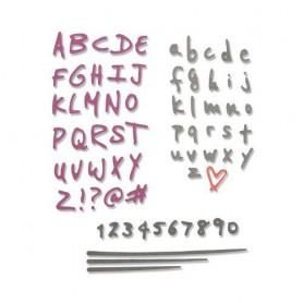 Sizzix Thinlits Die Set - 4PK Doodle Alphabet & Numbers Sophie Guilar
