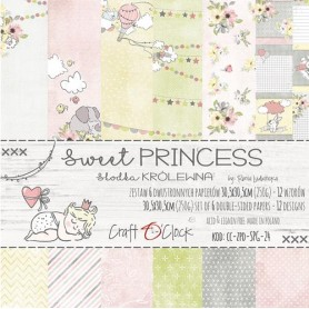 "Paper Collection Set 12""*12"" Sweet Princess, 250 gsm (6 double-sided sheets, 12 designs)"