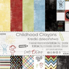 "Paper Collection Set 12""*12"" Childhood Crayons, 250 gsm (6 double-sided sheets, 12 designs)"