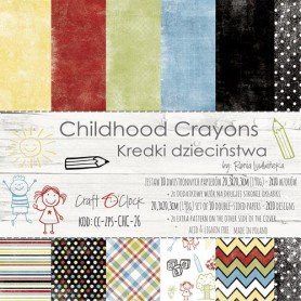 Paper Collection Set 20,3x20,3cm Childhood Crayons, 190 gsm (10 double-sided sheets, 10 designs, 2 units of each sheet)