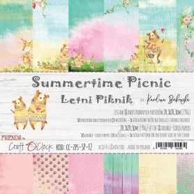 Paper Collection Set 20,3x20,3cm Summertime Picnic, 190 gsm (18 double-sided sheets: 10 designs )