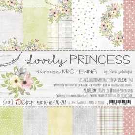 Paper Collection Set 20,3x20,3cm Lovely Princess, 190 gsm (18 double-sided sheets: 10 designs)