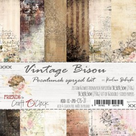 "Paper Collection Set 12""*12"" Vintage Bisou, 250 gsm (6 double-sided sheets, 12 designs"