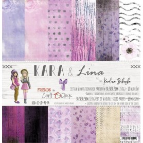 "Paper Collection Set 12""*12"" Kara & Lina, 250 gsm (6 double-sided sheets, 12 designs, bonus design 15,5x30,5 cm )"