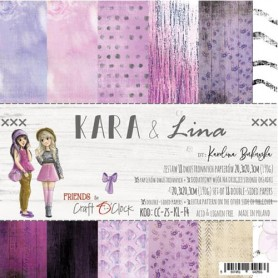 Paper Collection Set 20,3x20,3cm Kara & Lina, 190 gsm (18 double-sided sheets: 10 designs )