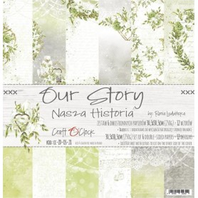"Paper Collection Set 12""*12"" Our Story, 250 gsm (6 double-sided sheets, 12 designs, bonus design 15,5x30,5 cm )"