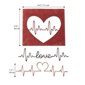 Sizzix Thinlits Die Set - 3PK Heartbeat  Tim Holtz