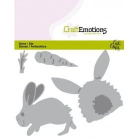 CraftEmotions Die - Bunny 1 - Kaninchen mit Karotte Card 11x9cm